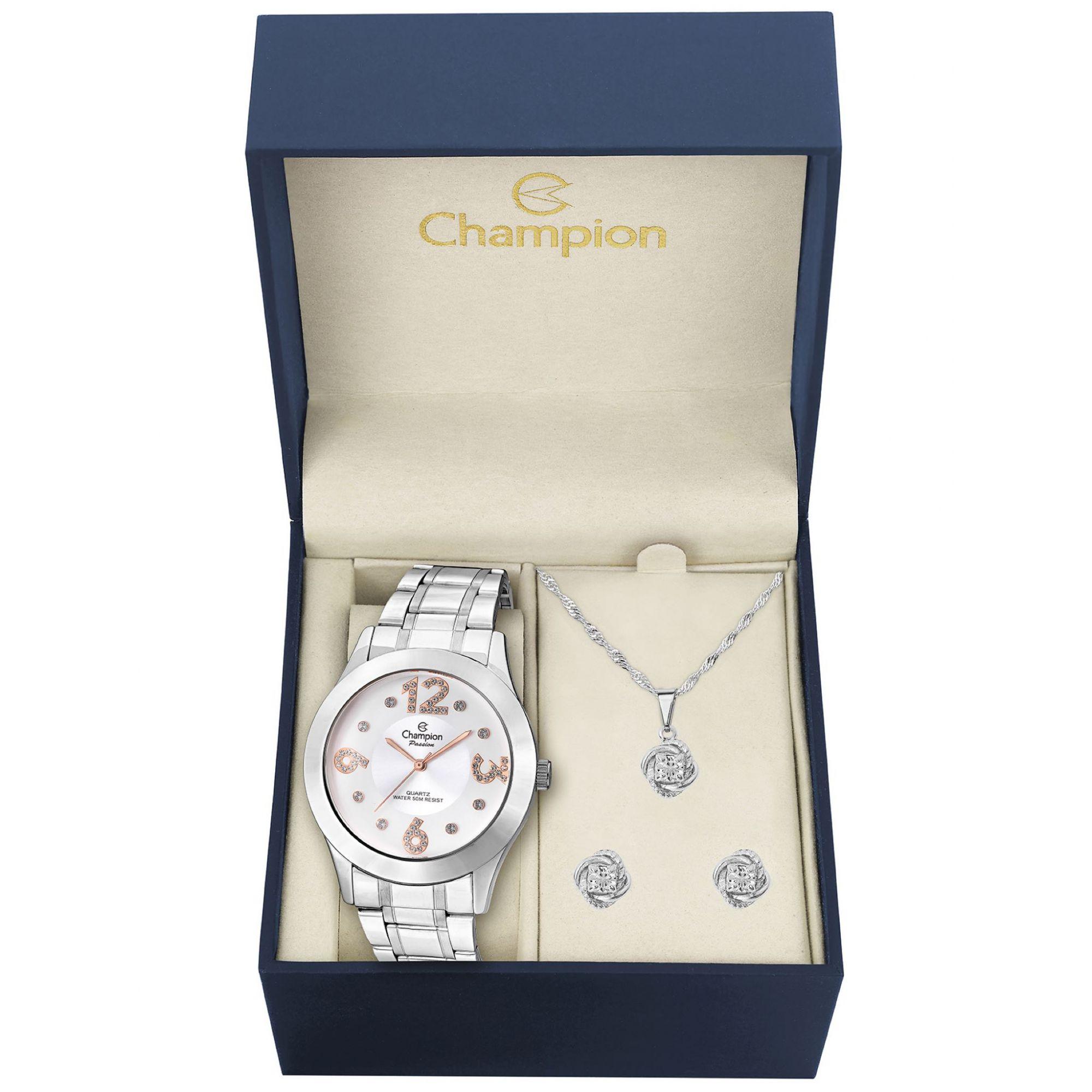 Relógio Feminino Kit Brincos e Colar Champion Passion Cn29178d Prateado