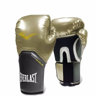 LUVA EVERLAST BOXING EVER SHIELD PRO STYLE ELITE 12 OZ DOURADA E PRATEADA