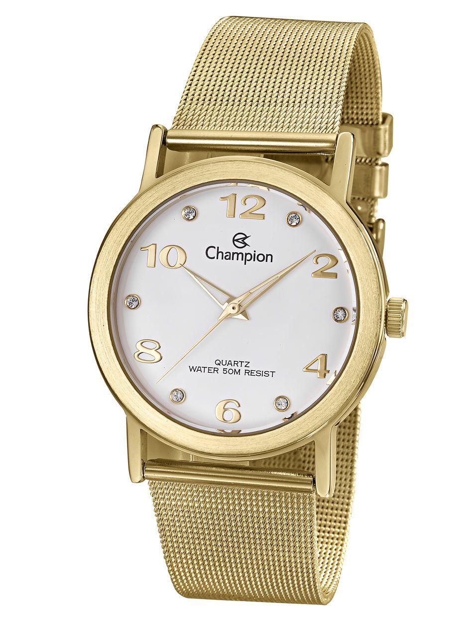 Relógio Champion Feminino Dourado Cn29034w Kit Semi Jóia