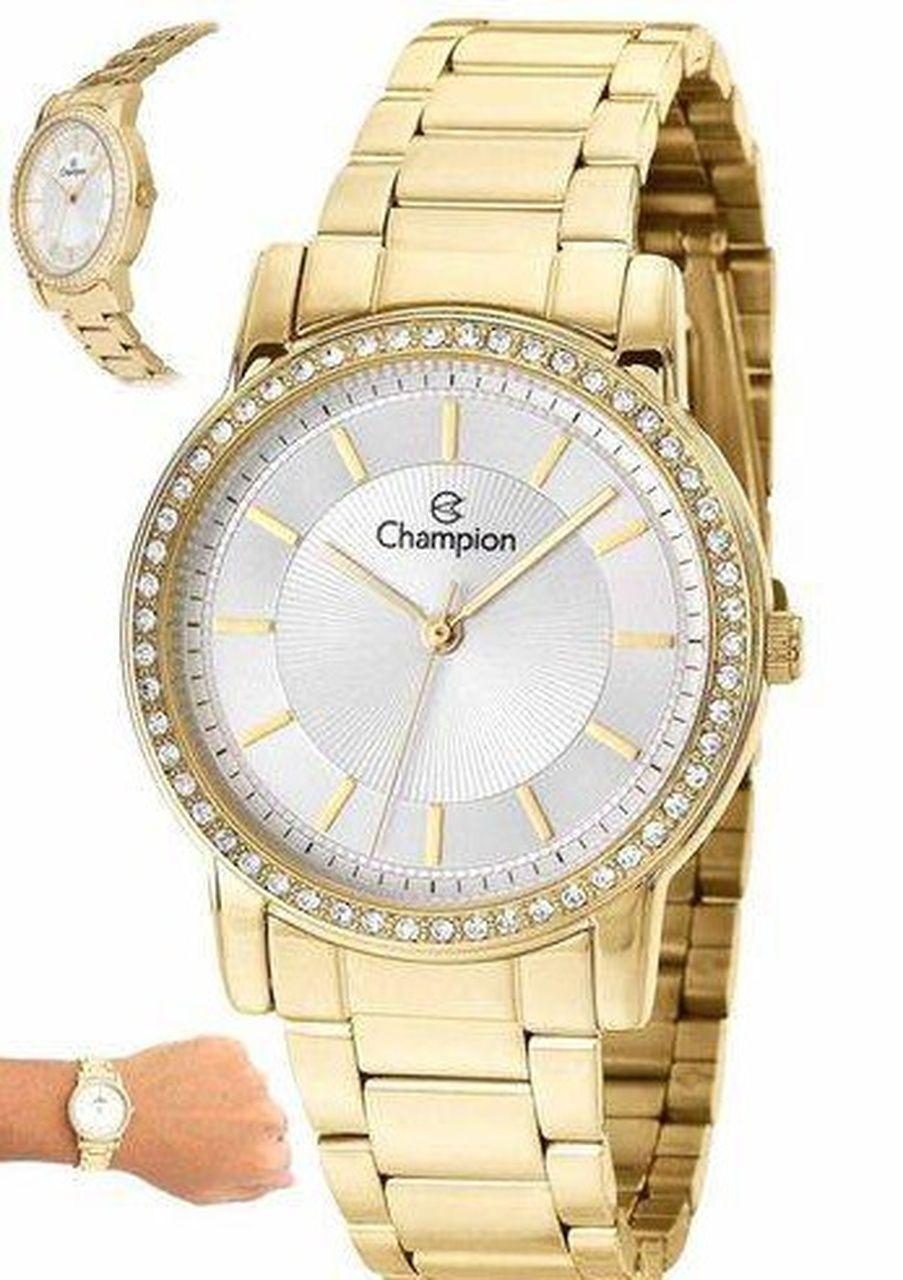 Relógio Champion Feminino Dourado Com Cristais Ch27956h