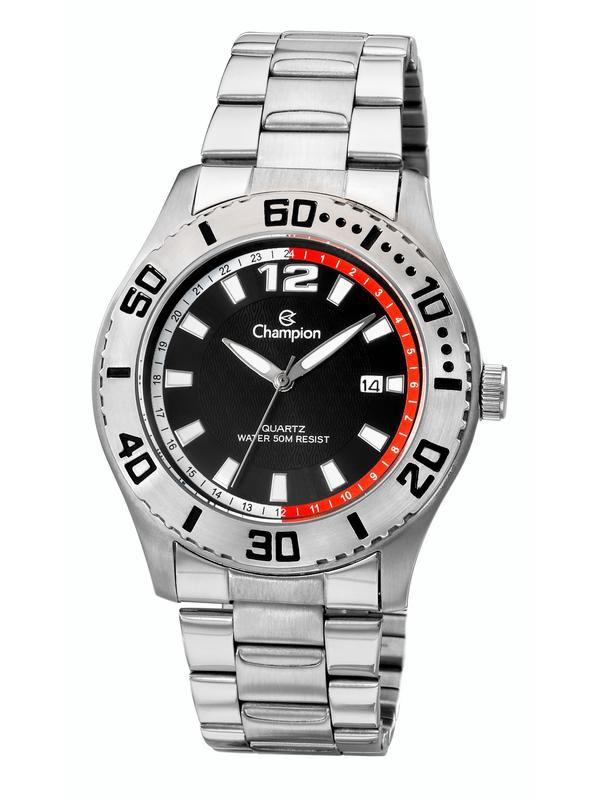 Relógio Champion Masculino Prata Fundo Preto Ca30249t