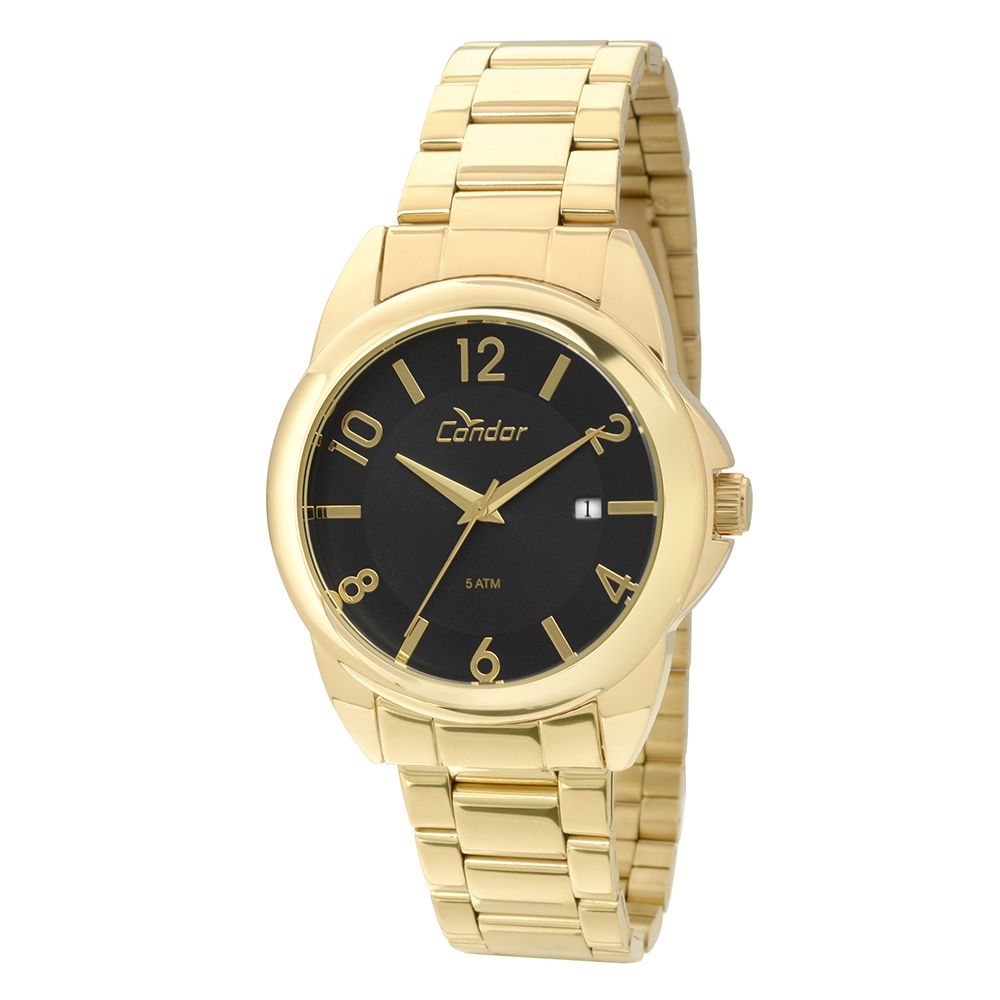 Relógio Condor Eterna Bracelete Feminino co2115sx/4p  Dourado Com Fundo preto
