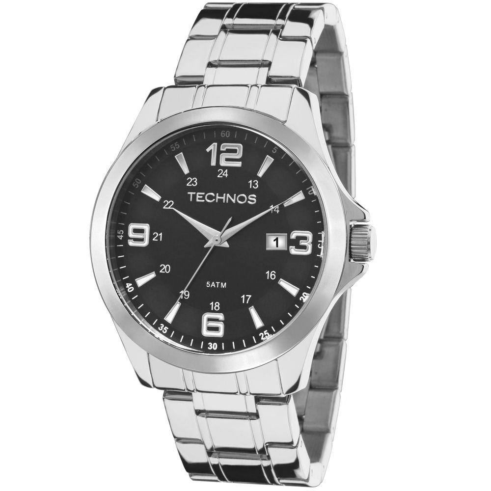 Relógio Technos Classic Masculino 2115mkt/1p  Prateado Steel Com Fundo preto