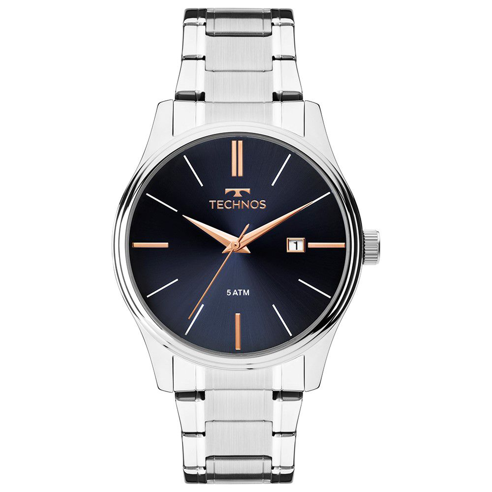 Relógio Technos Classic Masculino 2115mpm/1k  Prateado Steel Com Fundo Azul