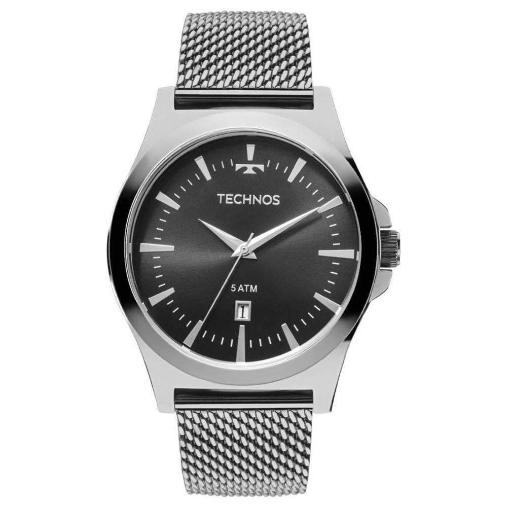 Relógio Technos Masculino Classic 2115lal/0p Analógico Prateado com Mostrador Preto