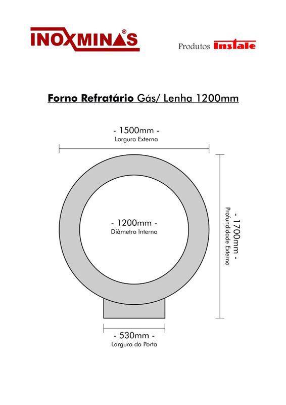 Forno Refratário Instale - Gás/Lenha 1200 mm