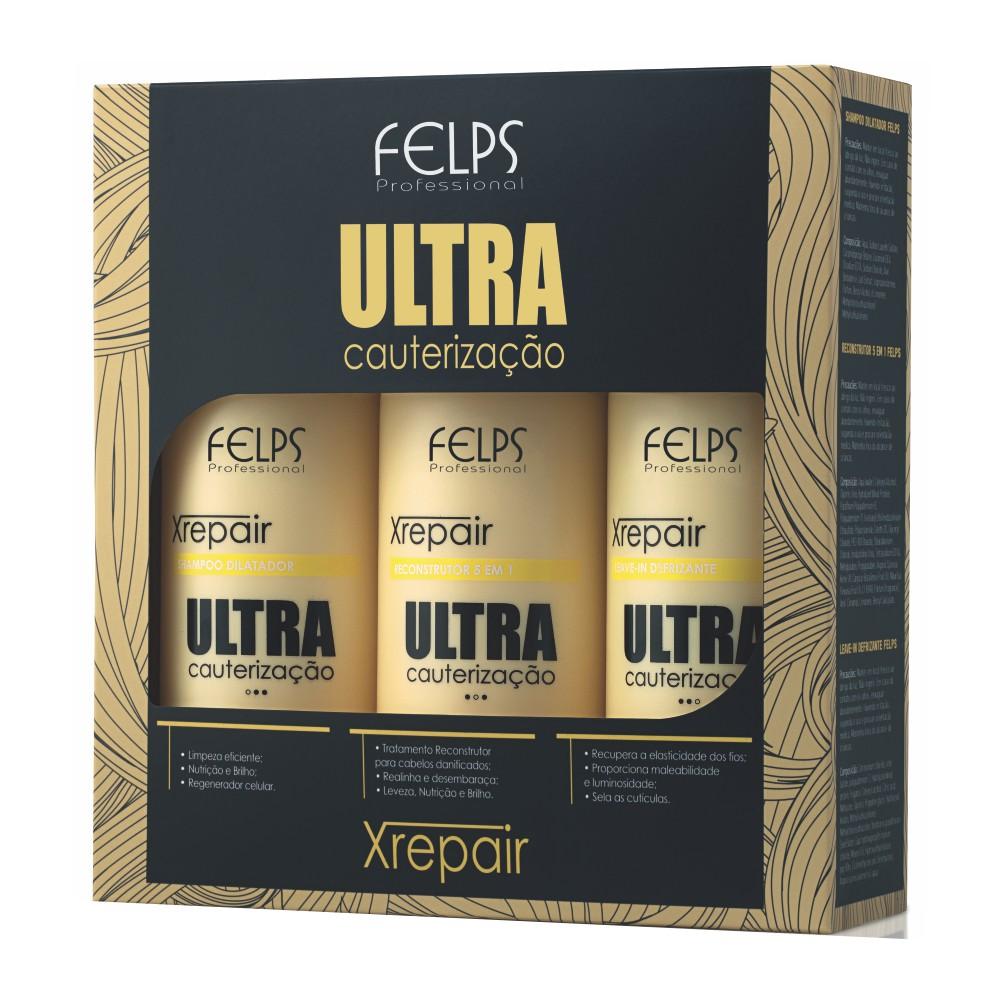 Felps Profissional Kit Xrepair Ultra Cauterização 3 x 500ml