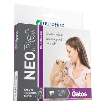 Antipulgas e Carrapatos Ouro Fino Neopet 0,32 mL para Gatos até 8 Kg