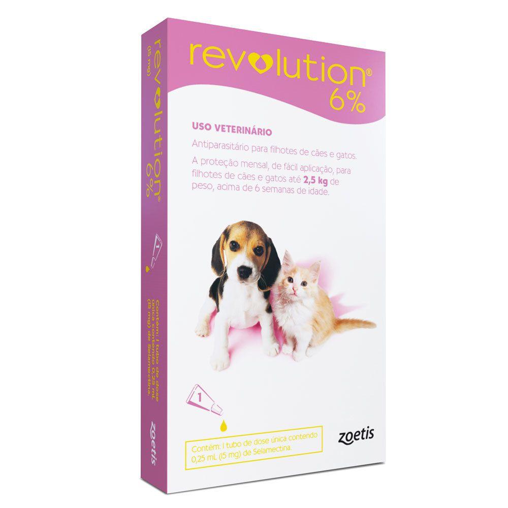 Antipulgas e Carrapatos Zoetis Revolution 6% para Cães e Gatos até 2,5 kg - 15 mg (cada)