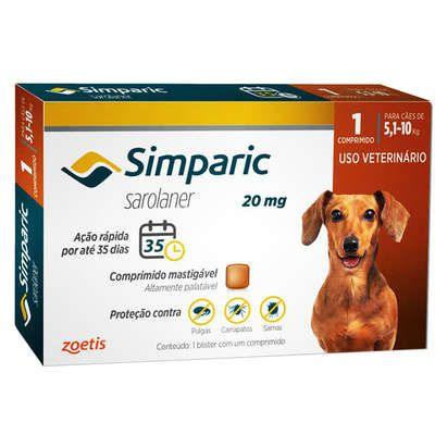 Antipulgas Zoetis Simparic 20 mg para Cães 5,1 a 10 Kg  (cada)