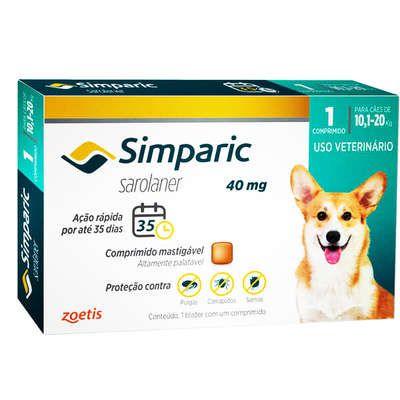 Antipulgas Zoetis Simparic 40 mg para Cães 10,1 a 20 Kg (cada)