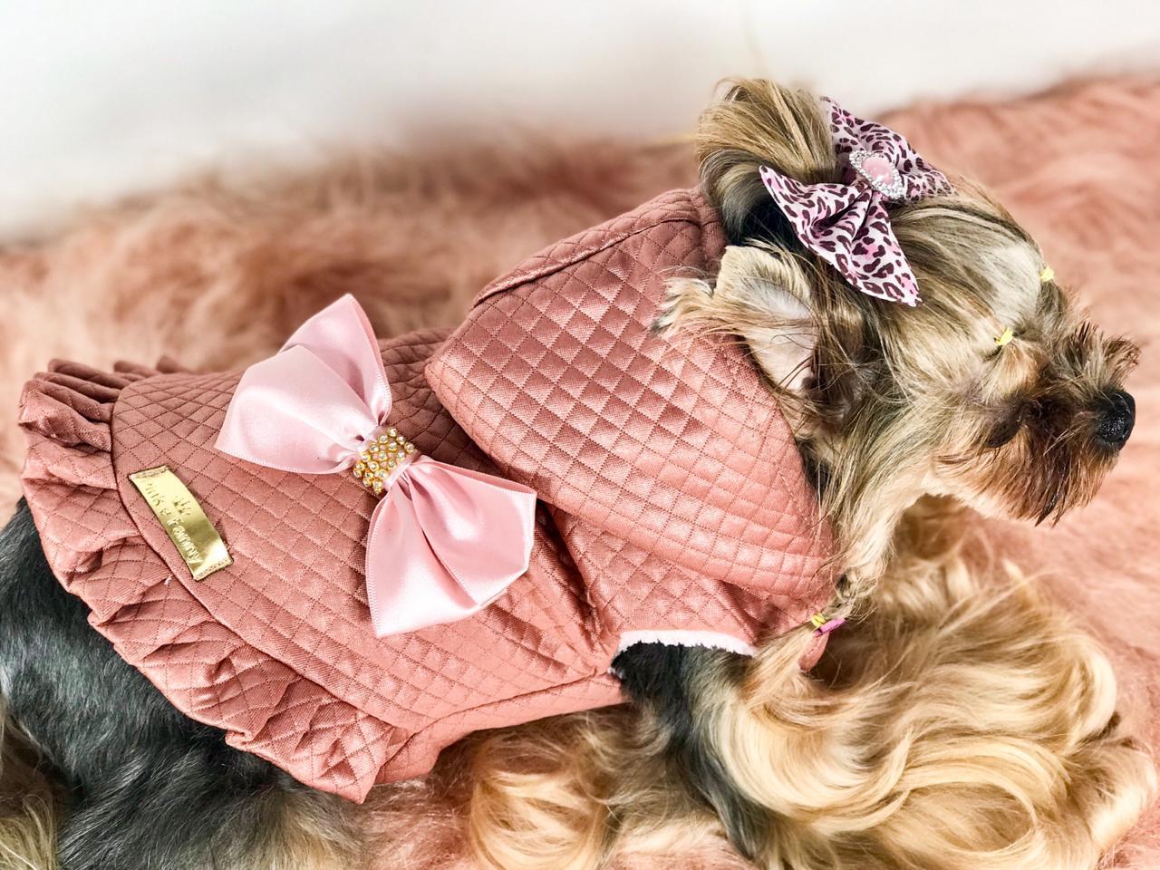 Colete couro rosa