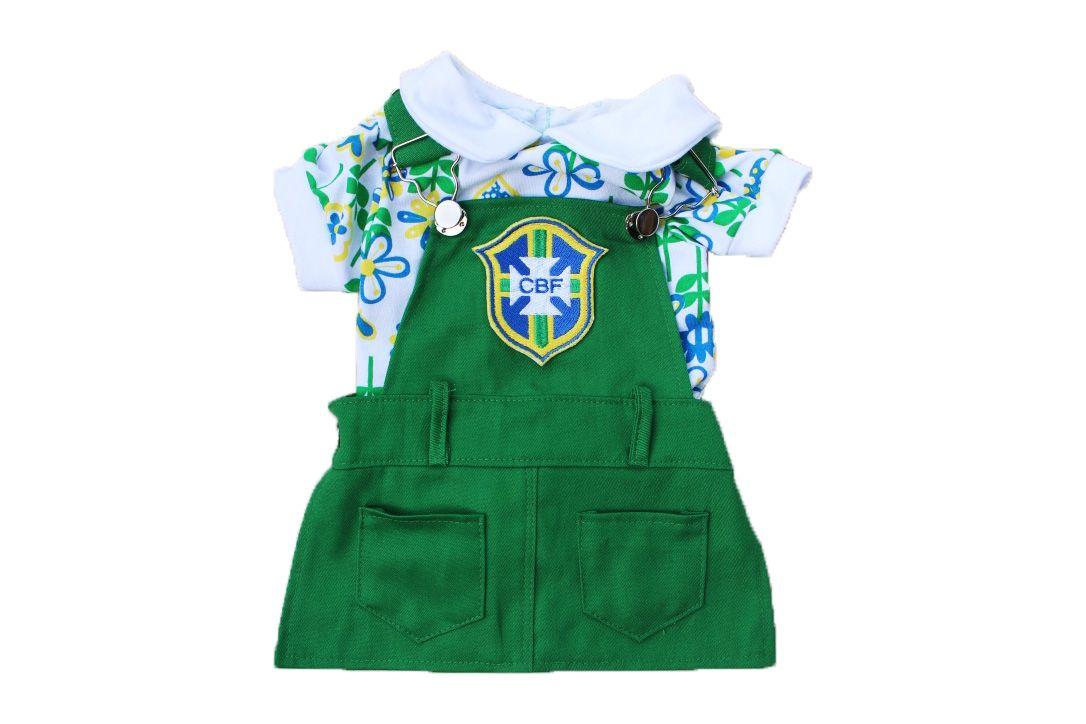 JARDINEIRA VESTIDO BRASIL- COPA  - Shoppinho Animal