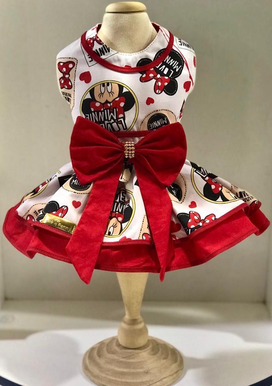 Vestido Minnie branco e vermelho