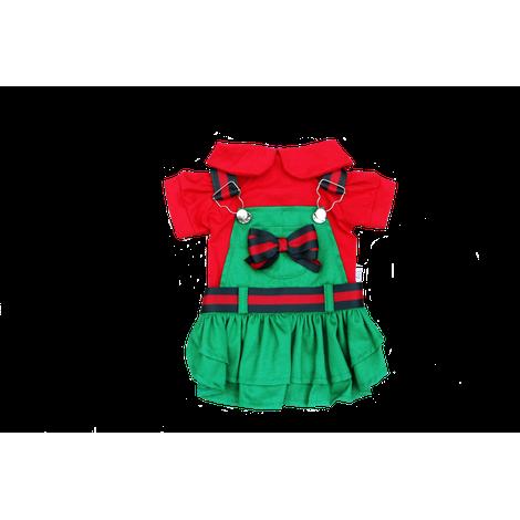 Jardineira Verde c/ Vermelho NATAL- Fêmea