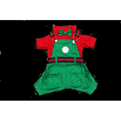 Jardineira Verde c/ Vermelho NATAL- Macho