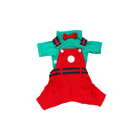Jardineira Vermelha c/ Verde NATAL- Macho