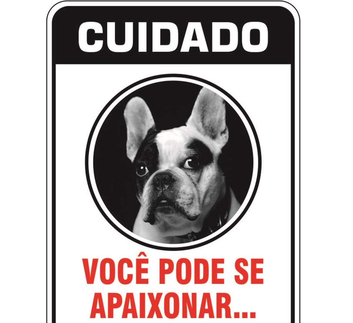 PLACA DE SINALIZAÇÃO- BULL FRANCÊS  - Shoppinho Animal