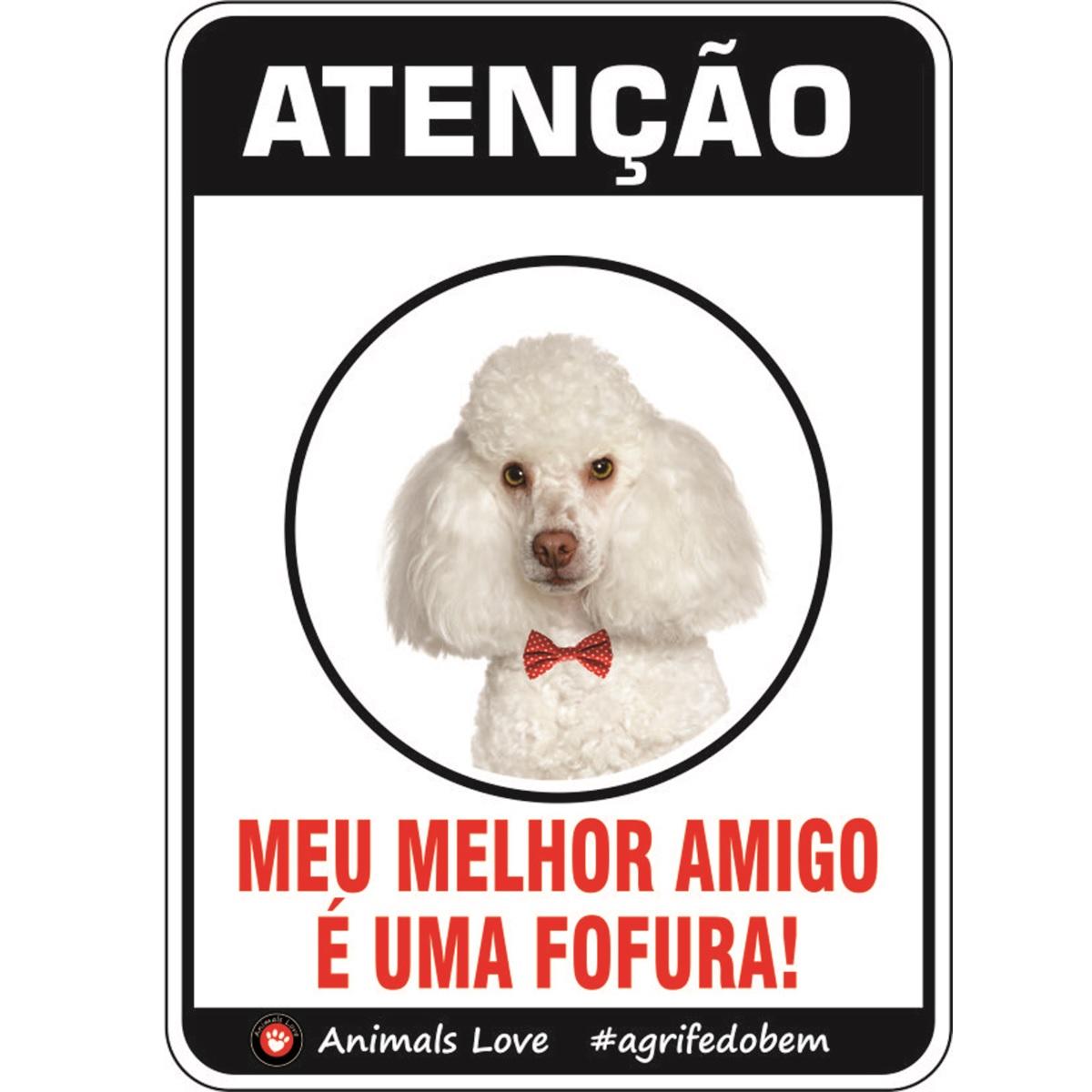 PLACA DE SINALIZAÇÃO- POODLE  - Shoppinho Animal