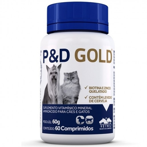 Suplemento P&D Pelo e Derme Gold 60 Comprimidos