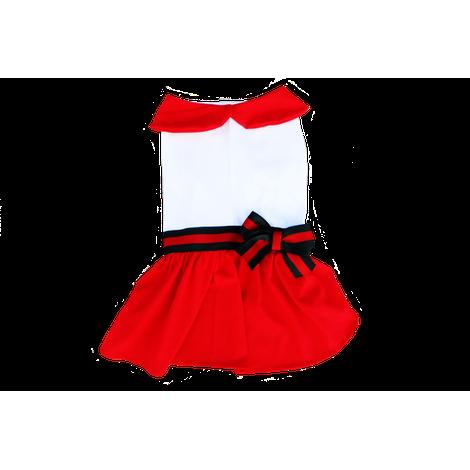Vestido Fita Branco e Vermelho- NATAL