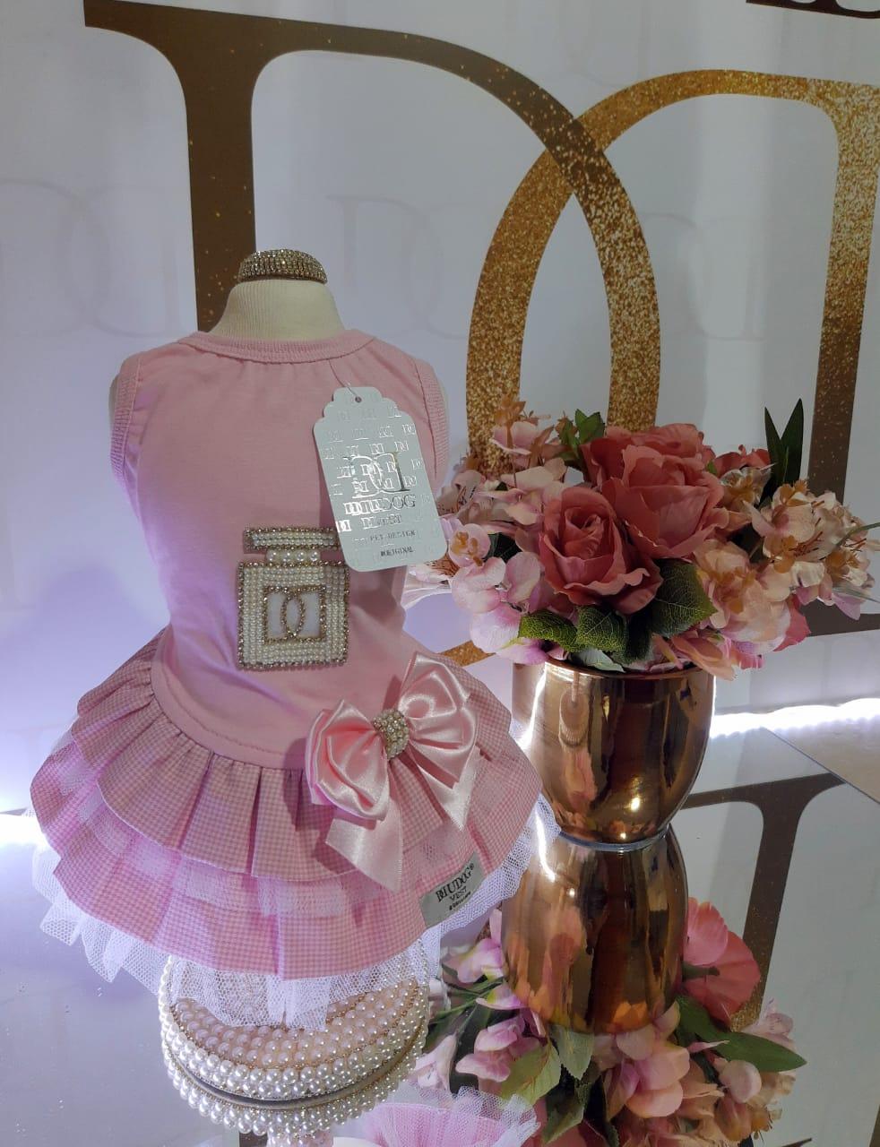Vestido Pied de Poule Rosa/Malha