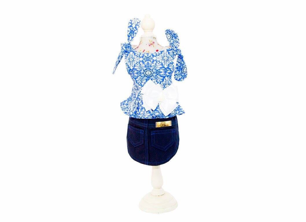 VESTIDO SAIA JEANS FLORAL BLUE  - Shoppinho Animal