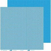 Papel ScrapPaper Dr Papel - chevron - Azul Grécia - com 3 folhas