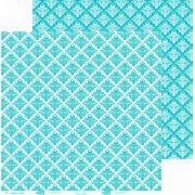 Papel ScrapPaper Dr Papel - floral - Azul Bahamas - com 3 folhas