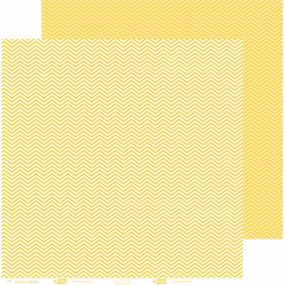 Papel ScrapPaper Dr Papel - chevron - Amarelo Rio de Janeiro - com 3 folhas