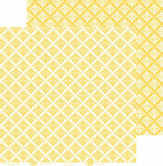 Papel ScrapPaper Dr Papel - floral - Amarelo Rio de Janeiro - com 3 folhas