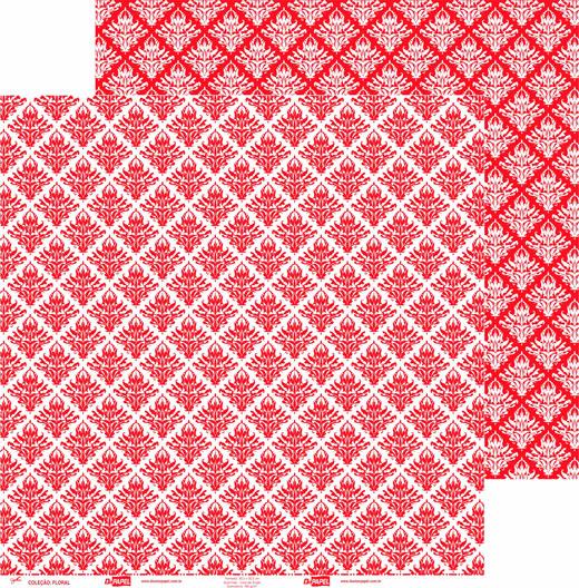Papel ScrapPaper Dr Papel - floral - Vermelho Tóquio - com 3 folhas