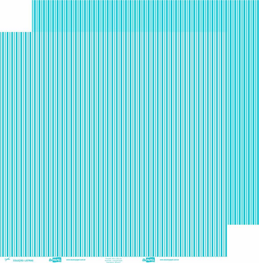 Papel ScrapPaper Dr Papel - Listras - Azul Bahamas - com 3 folhas