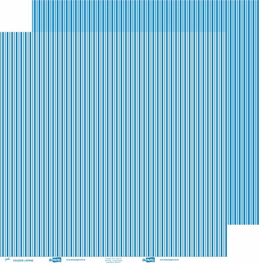 Papel ScrapPaper Dr Papel - Listras - Azul Grécia - com 3 folhas
