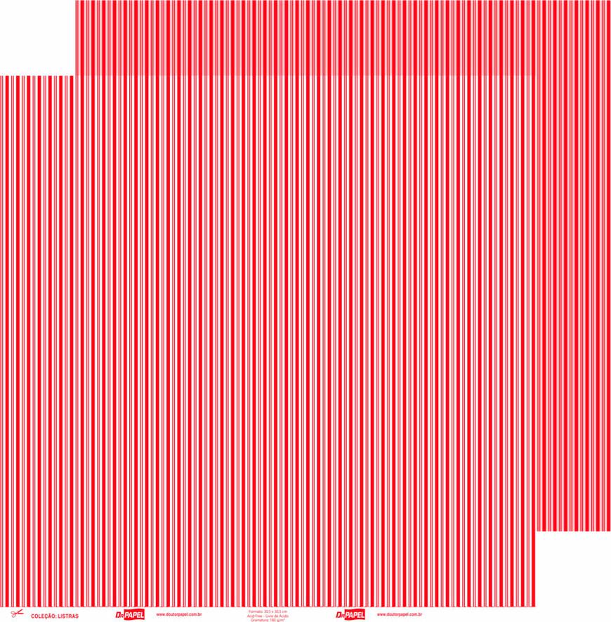Papel ScrapPaper Dr Papel - Listras - Vermelho Tóquio - com 3 folhas