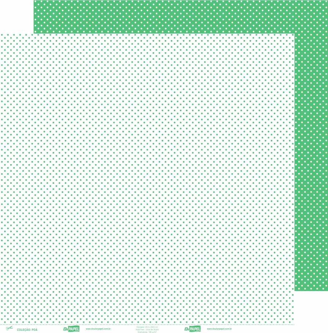 Papel ScrapPaper Dr Papel - Poá - Verde Bueno Aires - com 3 folhas