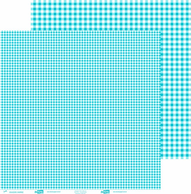 Papel ScrapPaper Dr Papel - xadrez - Azul Bahamas - com 3 folhas