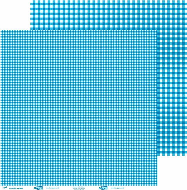 Papel ScrapPaper Dr Papel - xadrez - Azul Grécia - com 3 folhas