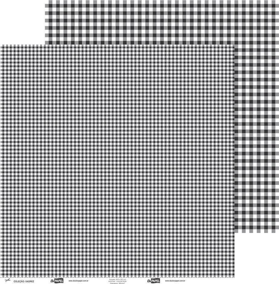 Papel ScrapPaper Dr Papel - xadrez - Preto Los Angeles - com 3 folhas