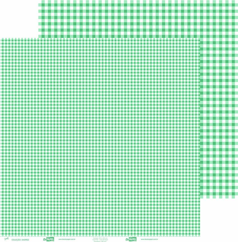 Papel ScrapPaper Dr Papel - xadrez - Verde Bueno Aires - com 3 folhas