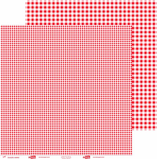Papel ScrapPaper Dr Papel - xadrez - Vermelho Tóquio - com 3 folhas