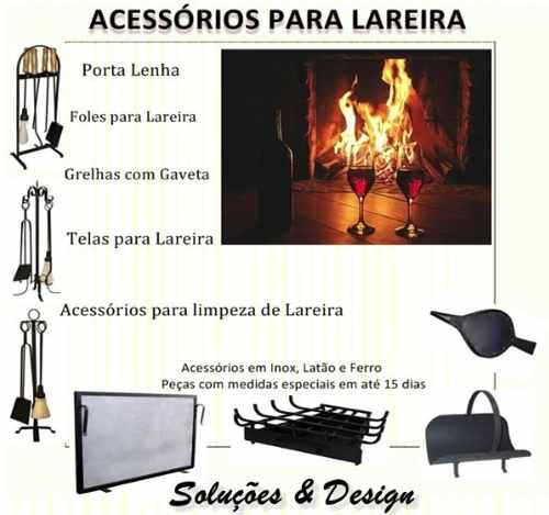 Grelha C/ Gaveta De Canto P/ Lareira Ferro Preto Media 58,5x40x28 CM