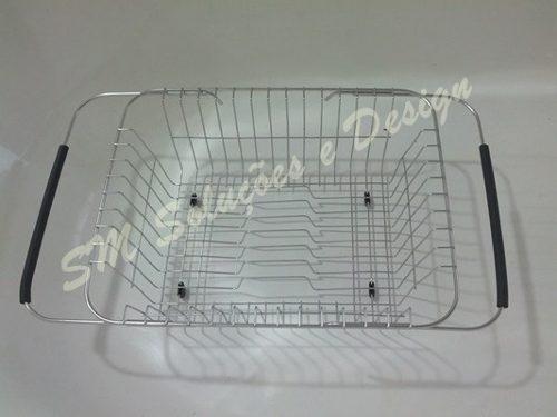 Kit P/ Pia Escorredor, Dosador E Porta Esponja Em Inox 304