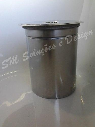 Kit Lixeira de Embutir No Granito 5LT 20X23 Inox 304 E Dosador Liquido