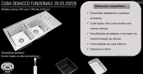 Cuba Inox C/lixeira E Triturador Debacco 20229 92,5x45x23