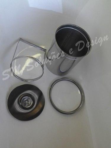Kit Lixeira 15cm Embutir Em Inox 304 + Dosador Detergente