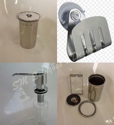 Kit Lixeira Embutir 3l + Dosador + Porta Esponja Em Inox 304