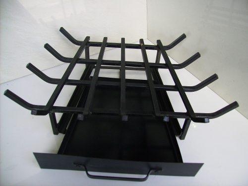 Grelha C/ Gaveta De Canto Para Lareira Ferro Preto 68,5 X 40 X 38