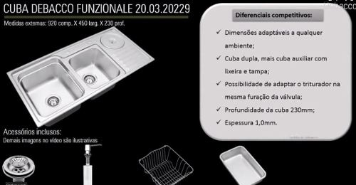 Cuba Dupla  Inox Debacco  C/ Lixeira E Acessorios 20.03.20229