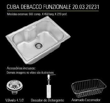 Cuba Inox C/ Acessorios 66x45 Debacco 20231 e Triturador